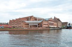 The Polish Baltic Philharmonic Polska Filharmonia Bałtycka. View to The Polish Baltic Philharmonic  from Motlawa river Royalty Free Stock Images