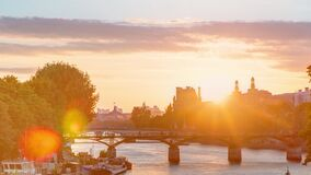 View to Pont des Arts in Paris at sunset timelapse, France
