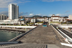 View to the Ponta Delgada city. From marina, San miguel, Azores, Portugal Royalty Free Stock Image