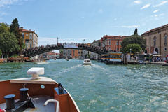 View to Ponte dell'Accademia in Grand Canal Royalty Free Stock Photos