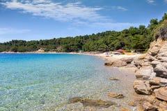 View to the popular beach of Agia Eleni on Skiathos Island Stock Image