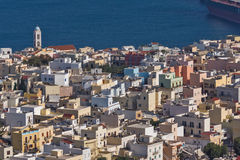 View to port of town of Ermopoli, Syros, Greece Stock Images