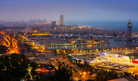 View to Port Vell of Barcelona in night Royalty Free Stock Photos