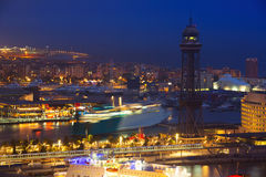 View to Port Vell of Barcelona in night Stock Photography