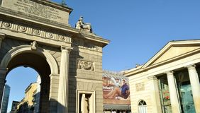 View to Porta Garibaldi Arch in a sunny day. Stock Image