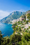View to Positano, Amalfi Coast, Italy. Beautiful view of coastline across the Amalfi Coast, with Positano in the background Royalty Free Stock Photography