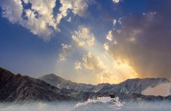 View to the Potala Palace in Lhasa, China in early morning light stock photography