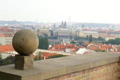 A view to Prague. Roofs, Vltava river,  palaces and a sphere Royalty Free Stock Photos