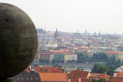 A view to Prague. Roofs, Vltava river,  palaces and a sphere Stock Image