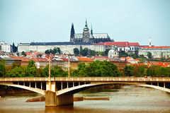 View to Prague castle and bridge Stock Image