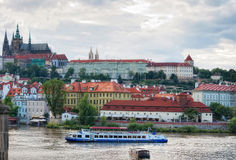 View to the Prague Castle from Charles Bridge Royalty Free Stock Photography