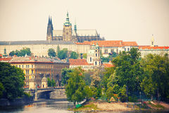 View to Prague castle and Vltava river Stock Photos