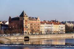 View to the Prague Old Town (Smetanovo Nabrezi) Stock Photo