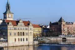 View to the Prague Old Town (Smetanovo Nabrezi) Royalty Free Stock Photo