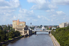 View to the Pregel river and formerly Konigsberg Stock Exchange building now is marine cultural centre in Kaliningrad, Russia. Stock Image
