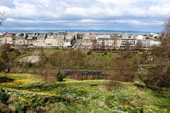 View to Princes Street from near Edinburgh Castle Royalty Free Stock Photos