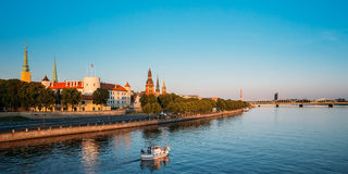 View To Promenad Of Daugava, In Riga, Latvia.  Ab Dambis. Travel. Scenic View To Promenad Of Daugava, In Riga, Latvia. Old Church Towers And Medieval Castle On Royalty Free Stock Photo