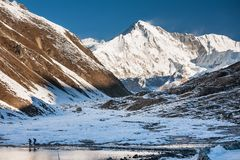 View to Pumori mount in Gokyo valley in Everest region, Nepal Royalty Free Stock Images