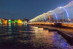 View to Punda Waterfront. And the Queen Emma Pontoon Bridge all decked out for Christmas Stock Photo