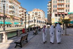 View to the Qanat Quartier, a district with Venetian architecture. On the Pearl in Doha, Qatar Royalty Free Stock Photo