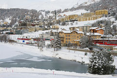 View to the railway station and buildings of St. Moritz, Switzerland Stock Photography