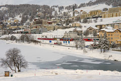 View to the railway station and buildings of St. Moritz, Switzerland. Stock Images