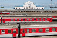 View to the railway station with ready to depart trains in Vilnius, Lithuania. Royalty Free Stock Image