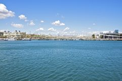 View to the Rambla La Mar in Barcelona Royalty Free Stock Image