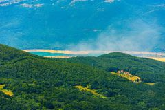View to the Ramsko jezero from the mountain. During sunny day Royalty Free Stock Photo