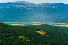 View to the Ramsko jezero from the mountain. During sunny day Royalty Free Stock Photography