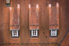 View to red roof of old traditional German house Stock Image