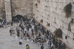 View to the religious men gathering near the Wailing Wall Kotel, Western Wall in Jerusalem. Israel, October 24, 2018 stock images