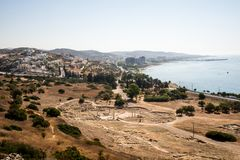 A view to remains of ancient Amathus city and Akrotiri bay from Acropolis hill in Limassol Royalty Free Stock Photo
