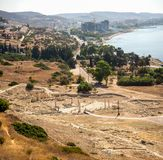 A view to remains of ancient Amathus city and Akrotiri bay from Acropolis hill in Limassol Royalty Free Stock Images