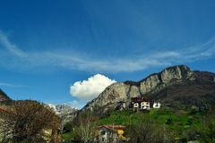 View to Resegone mountain near Lecco and Milan in a sunny spring day. Royalty Free Stock Image