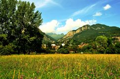 View to Resegone mountains and Calolziocorte in summer. Royalty Free Stock Images