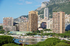 View to the residential area buildings in Monaco, Monaco. Royalty Free Stock Photo
