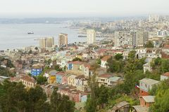 View to the residential area and harbor, Valparaiso, Chile. Stock Photos