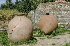 View to restored inside park of  castle Hisarlak with earthen  vessel. Near by Kyustendil town, Bulgaria Stock Photo