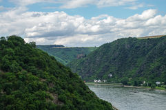 View to Rhine and Burg Maus Castle, St. Goarshausen, Rhineland-P Stock Photography