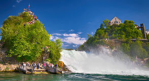 View to Rhine falls (Rheinfalls), the largest plain waterfall in Europe. It is located near Schaffhausen, Switzerland Royalty Free Stock Image