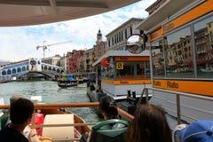 View to the Rialto Bridge and waterbus stop. Venice, Italy Stock Photos