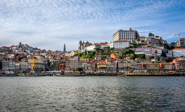 View to Ribeira district over Douro river. Porto, Portugal. Stock Images