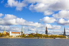 View to the Riga oldtown over river Daugava, Latvia Stock Images