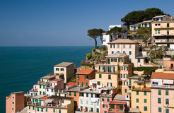 View to Riomaggiore (Cinque Terre). View to Riomaggiore - one of the villages in Cinque Terre (Italy royalty free stock photography