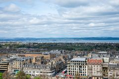A view to river Forth and Edinburgh city from the castle wall Royalty Free Stock Photo