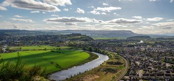 A view to river Forth and Stirling city from Abbey Craig hilltop. Central Scotland Stock Photo
