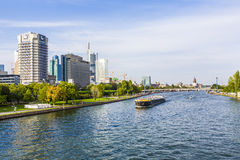 View to river main with boat Royalty Free Stock Photos