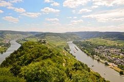 View to river Moselle and Marienburg Castle near village Puenderich - Mosel wine region in Germany Stock Photography