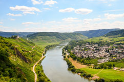 View to river Moselle and Marienburg Castle near village Puenderich - Mosel wine region in Germany Stock Photo